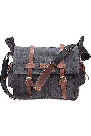 TINTAO A90 Umhängetasche für Herren, Leinen, Retro-Stil, Lederbesatz, Schultertasche, Laptoptasche
