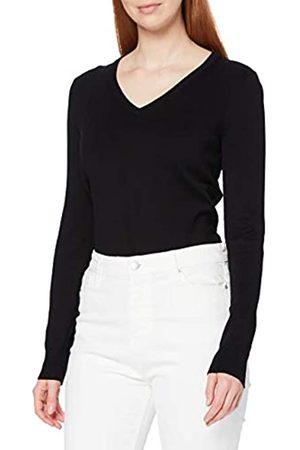 MERAKI Amazon-Marke: Baumwoll-Pullover Damen mit V-Ausschnitt (Black), 38