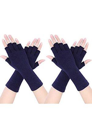 Pangda 2 Paar Unisex Fingerlose Handschuhe Half Finger Dehnbar Strick Handschuhe Verlängern Handgelenk Handschuhe Winter Warme Handschuhe (Marineblau)