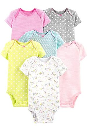 Simple Joys by Carter's Baby Mädchen 6er Pack Kurzarm Body ,Gray/Pink/Lime/Blue