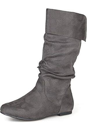 Journee Collection Damen-Stiefel aus Microveloursleder, normale Größe und breite Wadenlänge, knöchelhoch, Schlupfstiefel