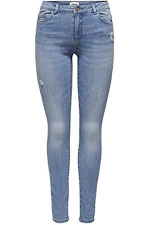 ONLY Damen Skinny - Female Skinny Fit Jeans ONLWauw Life Mid Destroyed L34Light Medium Blue Denim