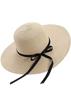 Chapter Seven Damen Hüte - Frauen Sonnenhut Floppy Faltbare Bowknot Große Breiter Krempe Strohhut Sommer Strand Cap UV Schutz UPF50