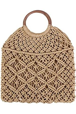 Ayliss Damen Handtaschen - Handgemachte Strohtasche Reise Strand Angeln Netz Handtasche Shopping Gewebte Schultertasche für Frauen, (Khaki#)