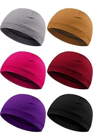 Syhood 6 Pieces Men Skull Caps Cotton Beanies Sleep Hats Multifunctional Helmet Liner Cap for Men and Women (Tasteful Colors)