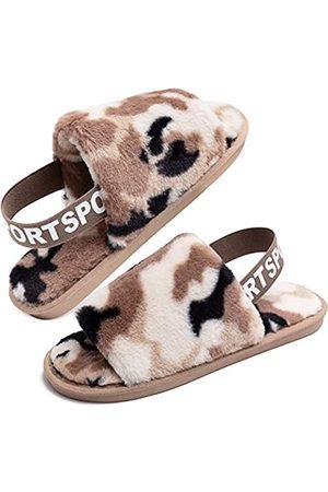 Eichzhushp Damen-Hausschuhe mit Leopardenmuster, weicher Plüsch, offener Zehenbereich, Kunstfell, Haus-Sandalen, für Innenbereich, Spa, Schlafzimmer, flache Schuhe mit elastischem Riemen, (Camouflage )