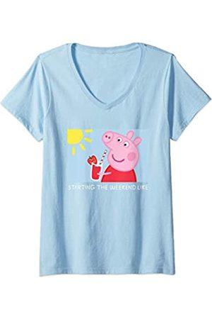 Peppa Pig Damen Starting the Weekend Meme T-Shirt mit V-Ausschnitt