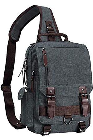 El-fmly Canvas Crossbody Messenger Bag für Herren Damen Sling Shouler Rucksack Reiserucksack (