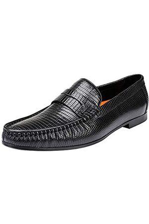 ERGGU Herren Halbschuhe - Herren Rindsleder Loafers Krokodil gedruckt Gummisohle Slip-on Kleid Schuhe