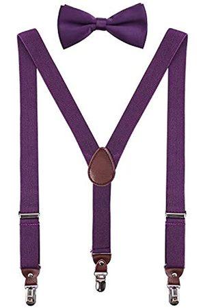 PZLE Herren Jungen Hosenträger und Fliege Set Verstellbar Y Rücken - Violett - 76 cm (3-9 Jahre)