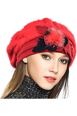 VECRY Damen Hüte - Baskenmütze für Damen, französisch, 100 % Wolle, Blumenmuster, Beanie