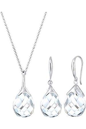 Elli Schmuckset Damen Tropfen Anhänger klassisch edel mit Bergkristall in 925 Sterling