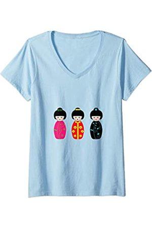 es designs Damen T-Shirts, Polos & Longsleeves - Damen Japanische Kokeshi Puppen T-Shirt mit V-Ausschnitt