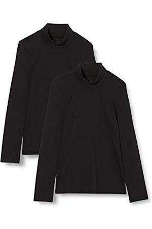 IRIS & LILLY Damen Extrawarmes Thermo-Unterhemd mit Langen Ärmeln, 2er-Pack (Black), XS