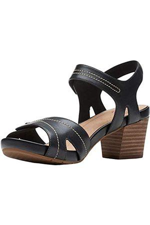 Clarks Womens Un Palma Vibe Heeled Sandal, Black Leather