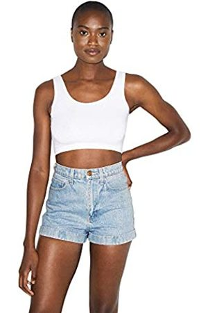 American Apparel Damen Denim High-Waist Cuff Short Jeansshorts