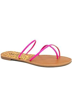Qupid Athena Flip-Flops für Damen – flache Kunstleder-Sandalen, Violett (Neon Fuchsia)