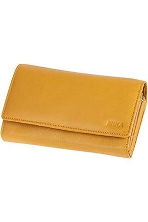 Mika 42164 - Damengeldbörse aus Echt Leder, Portemonnaie im Querformat, Geldbeutel mit 6 Kartenfächer, 4 große Fächer als Scheinfächer und doppeltes Münzfach, Brieftasche, ca. 17 x 10 x 4