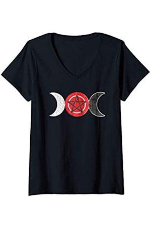 EDDArt Damen T-Shirts, Polos & Longsleeves - Damen Goddess Triple Moon - Wicca Pentagram 2 grunge - Fan Fun T-Shirt mit V-Ausschnitt