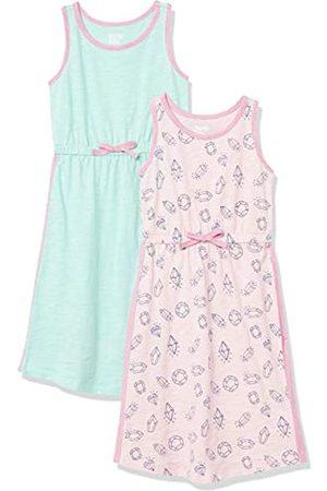 Spotted Zebra Mädchen Maxikleider - Girls' Big 2-Pack Sleeveless Knit Maxi Dresses, Pink Diamonds/Beach Glass