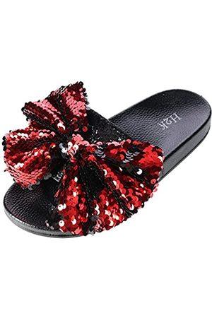 H2K Damen Halbschuhe - Damen Pantoffeln mit Pailletten Schleife - - Größe: 36 EU