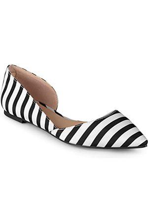 Journee Collection Damen Regular und Wide Wide Wide Pointed Toe Cut-Out Flach, Schwarz (schwarze streifen)
