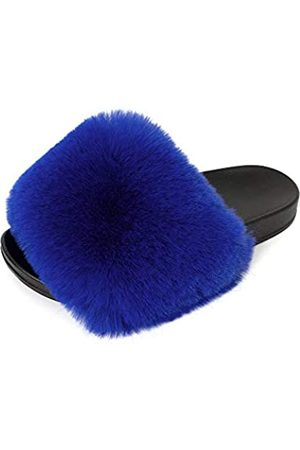 FUNKYMONKEY Damen Slides Faux Pelz Süße Flauschige Hausschuhe Komfort Flache Sandalen, (Dm-b/Königsblau)