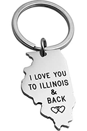 """JINGMARUO Schlüsselanhänger mit Aufschrift """"I Love You To (State Name) und Rückseite, für Fernbeziehungen, Geschenke, Staatskarte"""