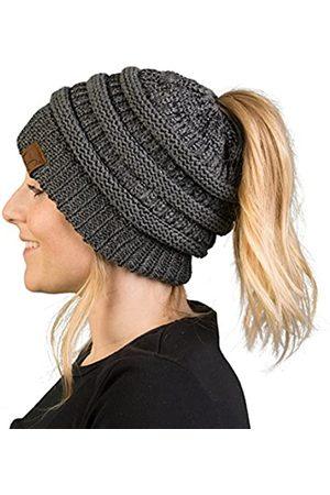 Funky Junque Pferdeschwanz Messy Bun BeanieTail Damen Beanie Solid Ribbed Hat Cap - - Einheitsgröße