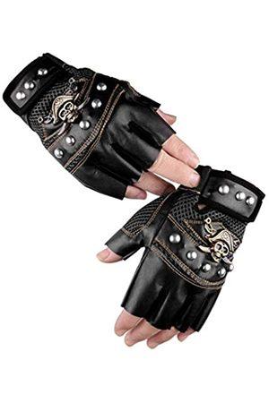 PURFUN Handschuhe für Herren und Damen, coole Totenkopf-Nieten, PU-Leder, Halbfinger-Handschuhe, atmungsaktives Netzgewebe, rutschfest, Radfahren, Reiten, Motorradfahren, Biker