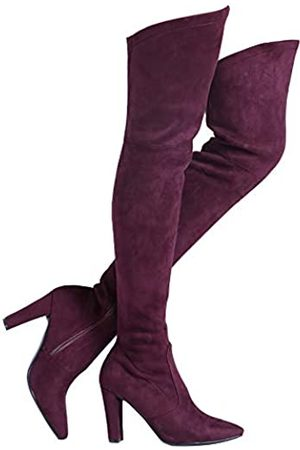 Shoe'N Tale Women Stretch Suede Chunky Heel Thigh High Over The Knee Boots (6.5
