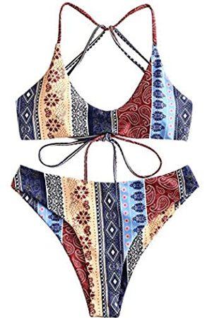 Zaful Damen Batik-Badeanzug mit Kreuz-Strappchen und Blumenmuster