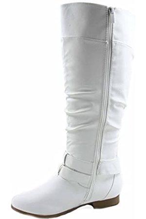 Top Moda Damen Overknees - Coco-20 Damen-Reitstiefel, runder Zehenbereich, niedriger Absatz, kniehoch, Reißverschluss, Weiá