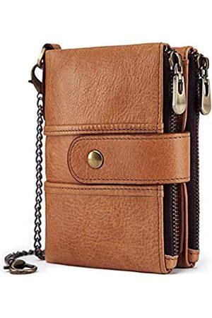 boshiho Geldbörse Herren Echtleder mit Kette RFID-Blockierend Geldbeutel Männer Viele Fächer Doppelte Falte Doppelreißverschluss Münztasche Diebstahlschutz Brieftasche (tan-us)