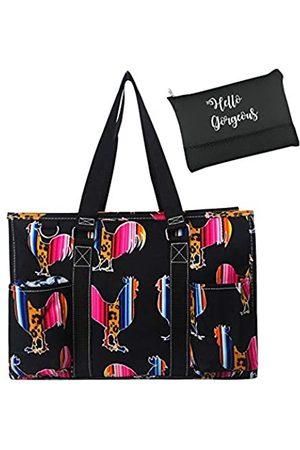 NGIL Damen Handtaschen - Allzweck-Organizer, mittelgroß, Tragetasche und Kosmetiktasche von EGFAS, (Leopard Serape Hahn )