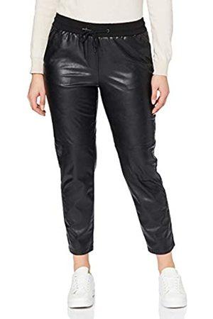 CECIL Damen 373628 Style Chelsea Loose Fit Kunstleder Hose, Black