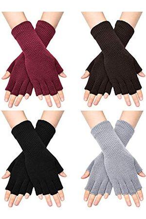 SATINIOR Unisex Halbe Finger Handschuhe Winter Dehnbar Knit Fingerloses Tippen Handschuhe ( , , Hellgrau, Kaffee
