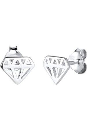 Elli Damen Ohrringe - Ohrringe Damen Ohrstecker mit Diamant Cut-Out Trend Filigran Zart in 925 Sterling