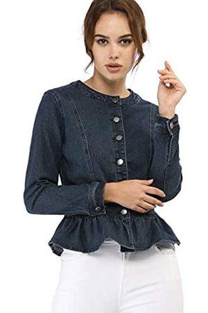 Allegra K Damen Cropped - Damen Langarm Stehkragen Volant Peplum Crop Jeansjacke Jacke S