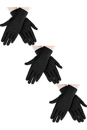Sumind 3 Paar Handschuhe mit Handgelenklänge, für Damen, kurze Satin-Handschuhe, Opernhandschuhe