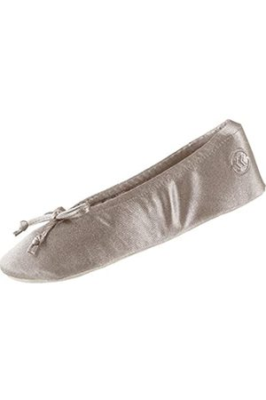 Isotoner Damen Hausschuhe - Damen Satin Ballerina House with Bow and Faux Suede Sole Slipper