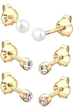 Elli Damen Ohrringe - Ohrringe Kugel Perle Set Kristalle 925 Silber