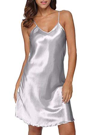 Giova Damen Satin Lange Dessous Chemise Strap Kleid Nachtwäsche - - Large