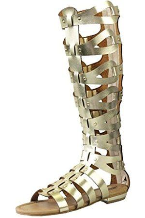 CAMSSOO Damen Overknees - Damen Offene Zehen Kniehohe Sandalen Riemen Gladiator Vamp mit Reißverschluss hinten Outdoor Flach Lange Stiefel, ( PU)