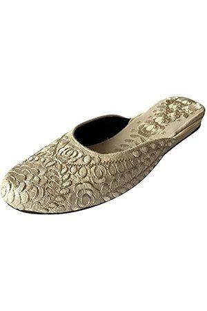 Step N Style Punjabi Cream Juti Indian Khusa Shoes Women Designer Salwar Kameez Flache Schuhe, Elfenbein (cremefarben)