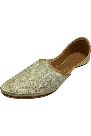 Step N Style Herren Pakistani Aladdin Mojari Khussa Schuh Jooti Jalsa Juttis, Gold (hellgoldfarben)