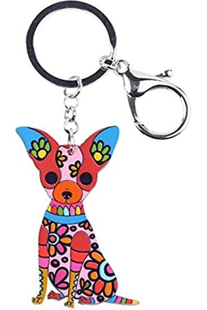 WEVENI JEWELRY WEVENI Schlüsselanhänger, Acryl, Chihuahua, Hund, modischer Tierschmuck, für Frauen, Mädchen, Tasche, Auto, Schlüsselanhänger