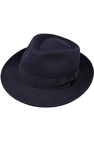 Borges & Scott B&S Premium Doyle - Teardrop Fedora Hut - 100% Wollfilz - perfekt zum Reisen - was-serabweisend - Unisex - 62cm