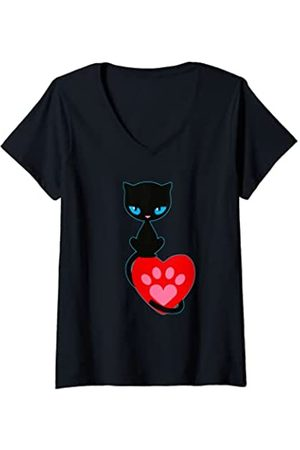 Pussy Deluxe Damen T-Shirts, Polos & Longsleeves - Damen Cat kitten neko pussy kat katze chaton paw T-Shirt mit V-Ausschnitt
