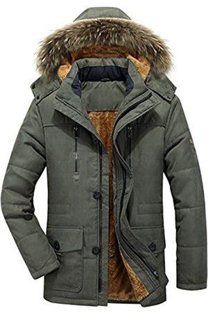 chouyatou Herren Winter Abnehmbare Kapuze Frost-Fighter Sherpa Gefüttert Midi Packable Parka Jacken - Gr�n - Small
